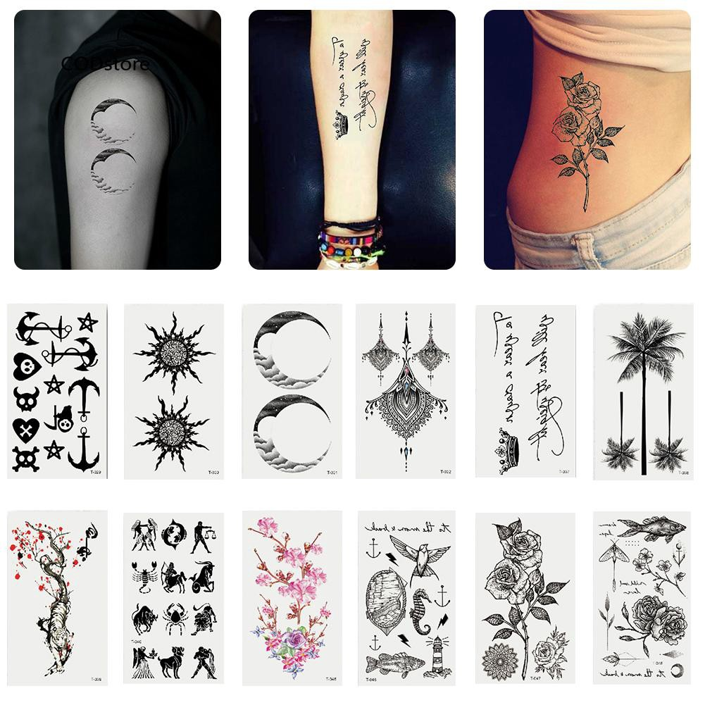 Cst Fantastic Flower Animal Waterproof Women Men Temporary Tattoo Sticker Body Art Shopee Singapore