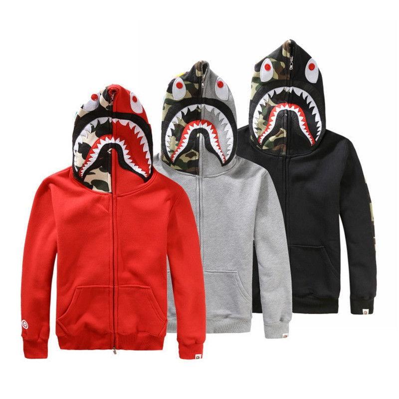 BAPE A Bathing Ape Hoodie Sweats Men/'s Shark Head Full Zip Coat Jacket Clothing
