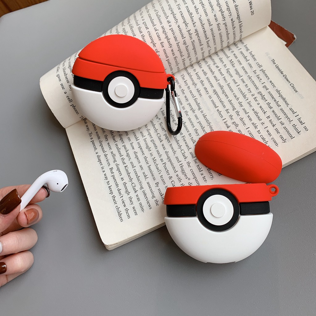 Airpods Case Pokeball Pokemon Huawei Flypods Silicone Cover Apple Bluetooth Headphone Protection Case Carabiner Shopee Singapore