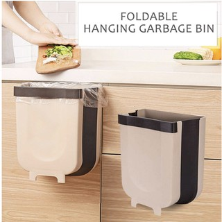 Wall Mounted Foldable Trash Can Portable Kitchen Cupboard Door Garbage Can Folding Hanging Trash Shopee Singapore