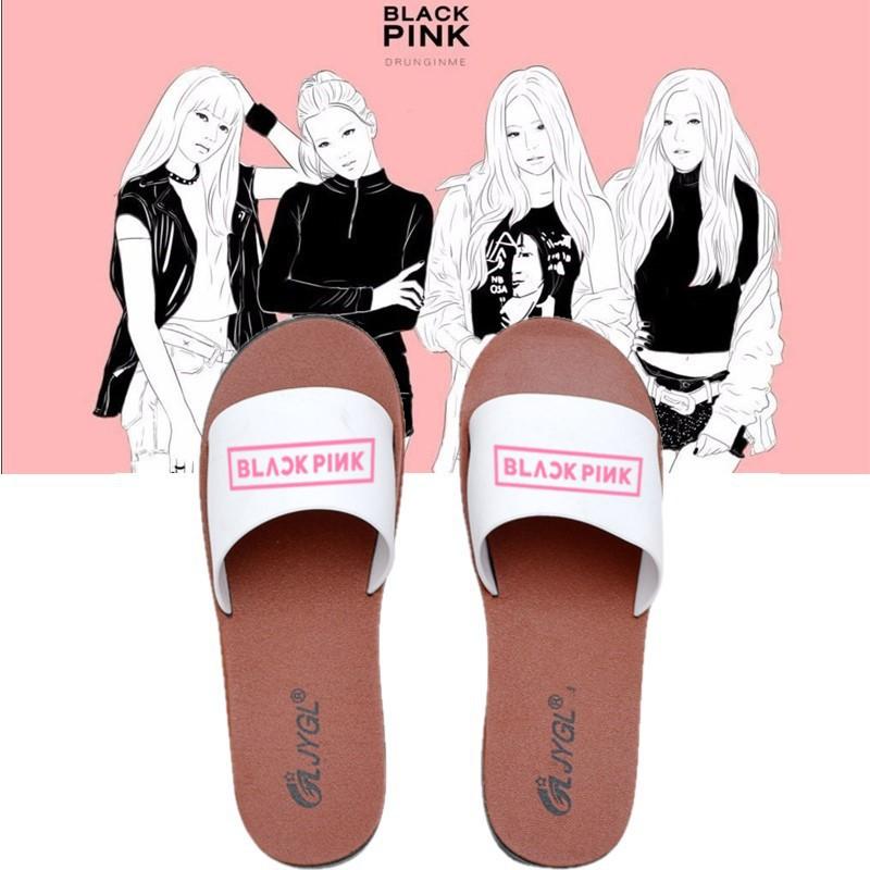 Kpop Blackpink Fashion Beach Women Girl Slipper Flat Shoes Foot