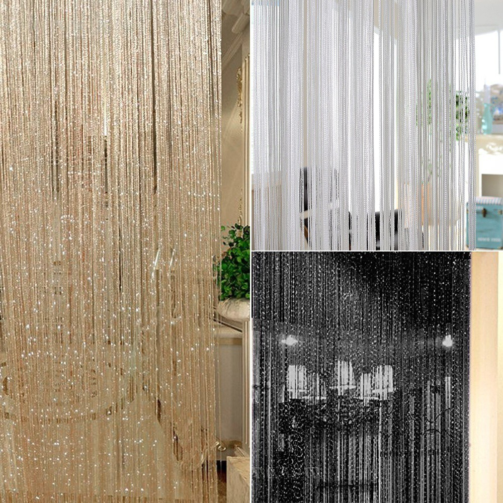 1/2x Glitter String Curtain Door Divider Window Patio Screen Fringe Panels Decor Curtains & Blinds Curtains & Pelmets