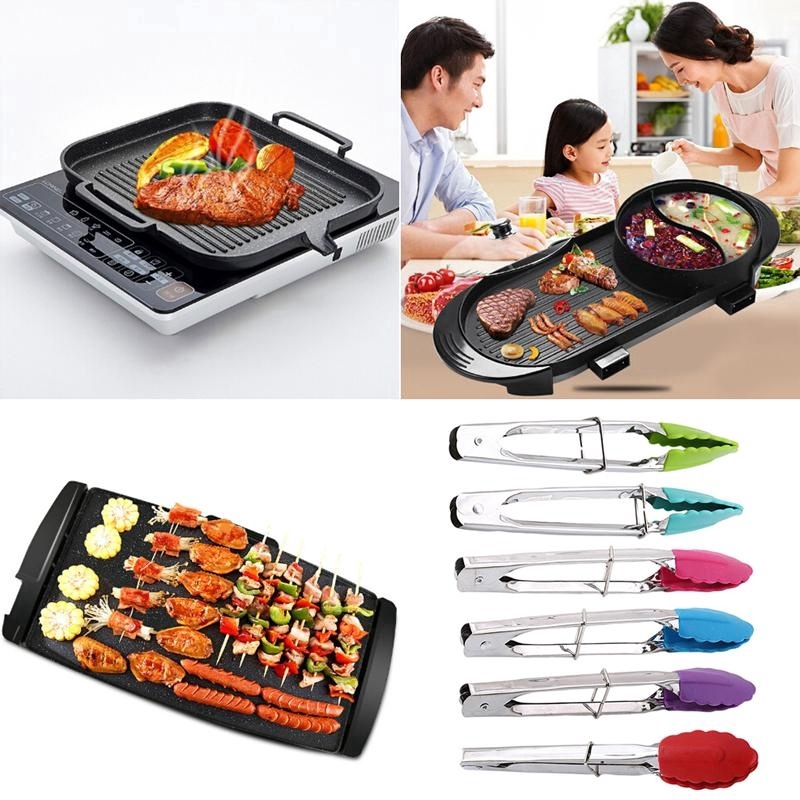 Plastic /& Stainless Steel Kitchen BBQ Cooking Food Clip Salad Serving Tongs