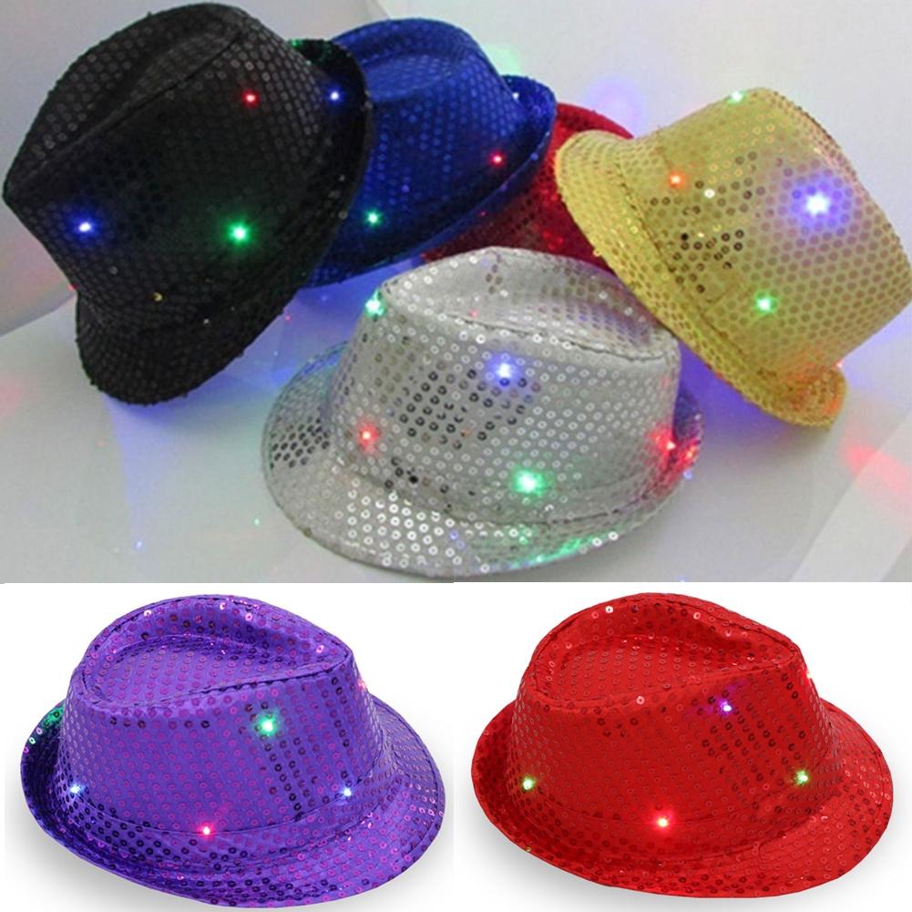 cfa12af6dbe Ged♥Flashing Light Up LED Fedora Trilby Sequin Fancy Dress Dance Party Hat