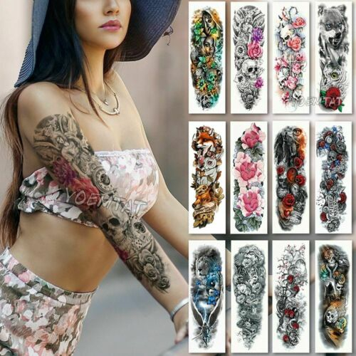 Large Waterproof Full Arm Sleeve Temporary Tattoo Stencil Sticker Body Art Diy Tool Shopee Singapore