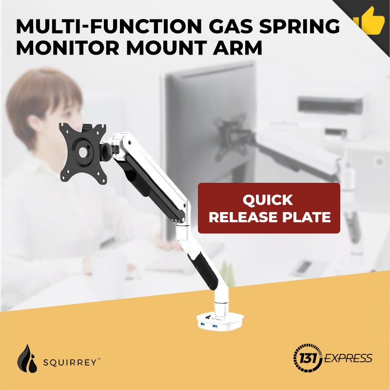 Xiaomi Squirrey Multi-Function Gas Spring Monitor Mount Arm MMA560 [ USB  port, Quick Release Plate, Adjustable, Desk ] | Shopee Singapore