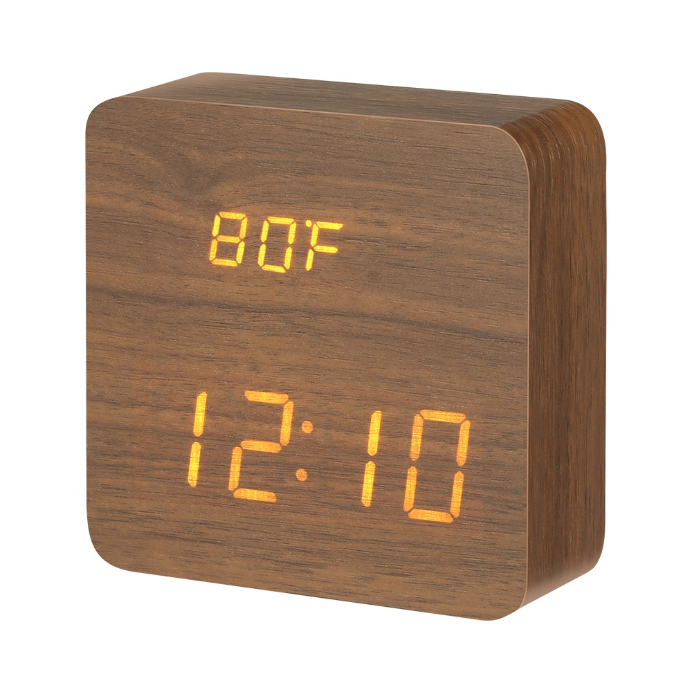 Wooden Digital LED Alarm Clock  Voice Control Calendar Thermometer USB//Battery