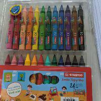 12 Jumbo Wax Crayons Pack Children Kids Party Colouring Soft Bright Colours