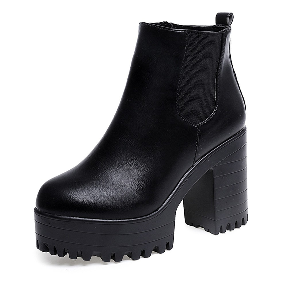 653d114ba02 {Ready Stock} Women Square Heel Platforms Thigh High Pump Boots Shoes