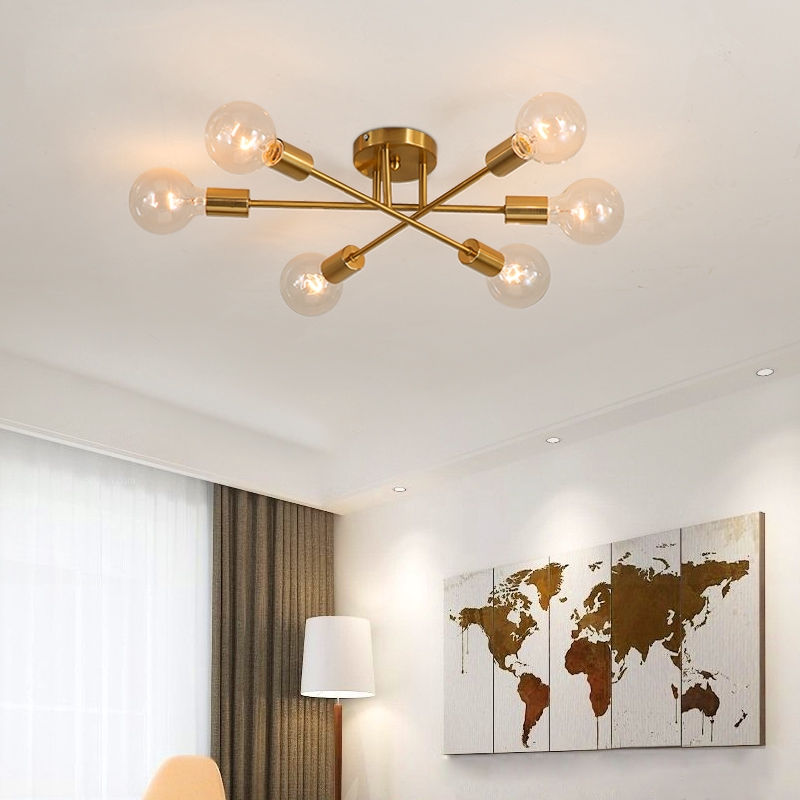 Contemporar Loft Semi Flush Mount Ceiling Light Wrought Iron Chandelier Fixture