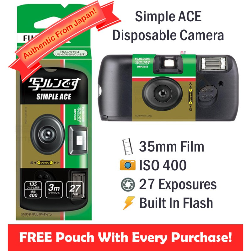 Fujifilm Simple Ace Disposable Film Camera [27 Exp] + FREE Pouch