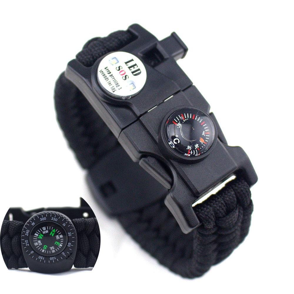 Camping Survival Emergency Paracord BRACELET Fire Starter FLINT Compass Whistle