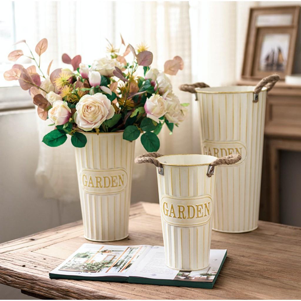Modern Farmhouse Garden Style Indoor Metal Dried Flower Arrangement Plant Pot Bucket Home Decoration Shopee Singapore