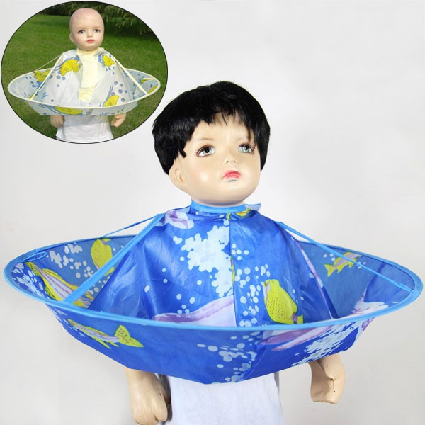 Intelligent Comfortable For Children Apron Dolphin Pattern Bat Sleeve Hairdressing Cover Cartoon Anti-static Salon Bright Colors Soft Styling Tools