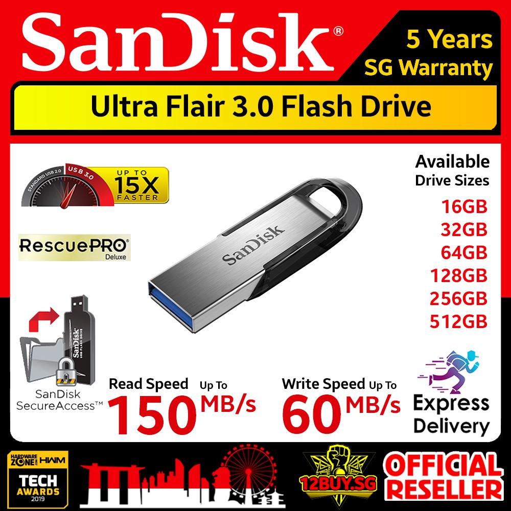 SanDisk Ultra Flair USB 3.0 16GB 32GB 64GB 128GB Flash Drive Thumb Stick Memory