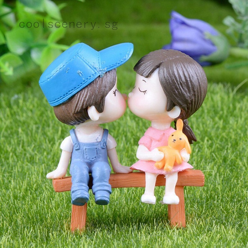 1 Set Sweety Lovers Couple Chair Figurines Miniatures Crafts Home Decoration