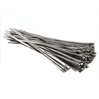 100pcs Stainless Steel Locking Cable Zip Ties Silver (4 6x300mm)