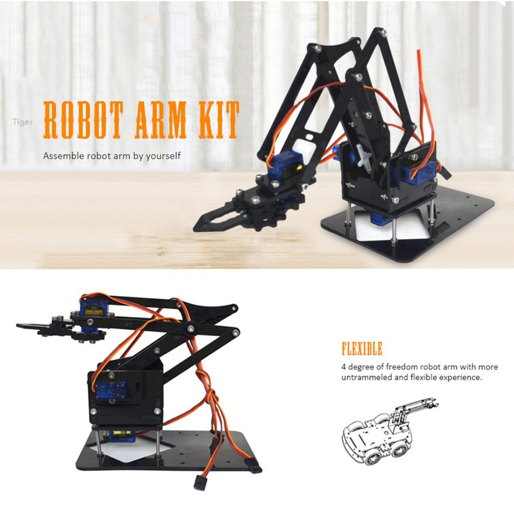 High Tech Toys Independent Acrylic Mechanics Handle Robot Robotic 4 Dof Arm For Arduino Created Learning Kit Sg90 Bright In Colour