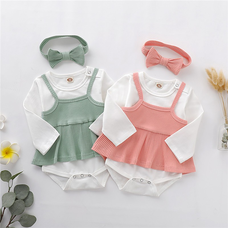 3PCS Newborn Infant Baby Girl Outfits Clothes Set Romper Tops+Floral Strap Dress