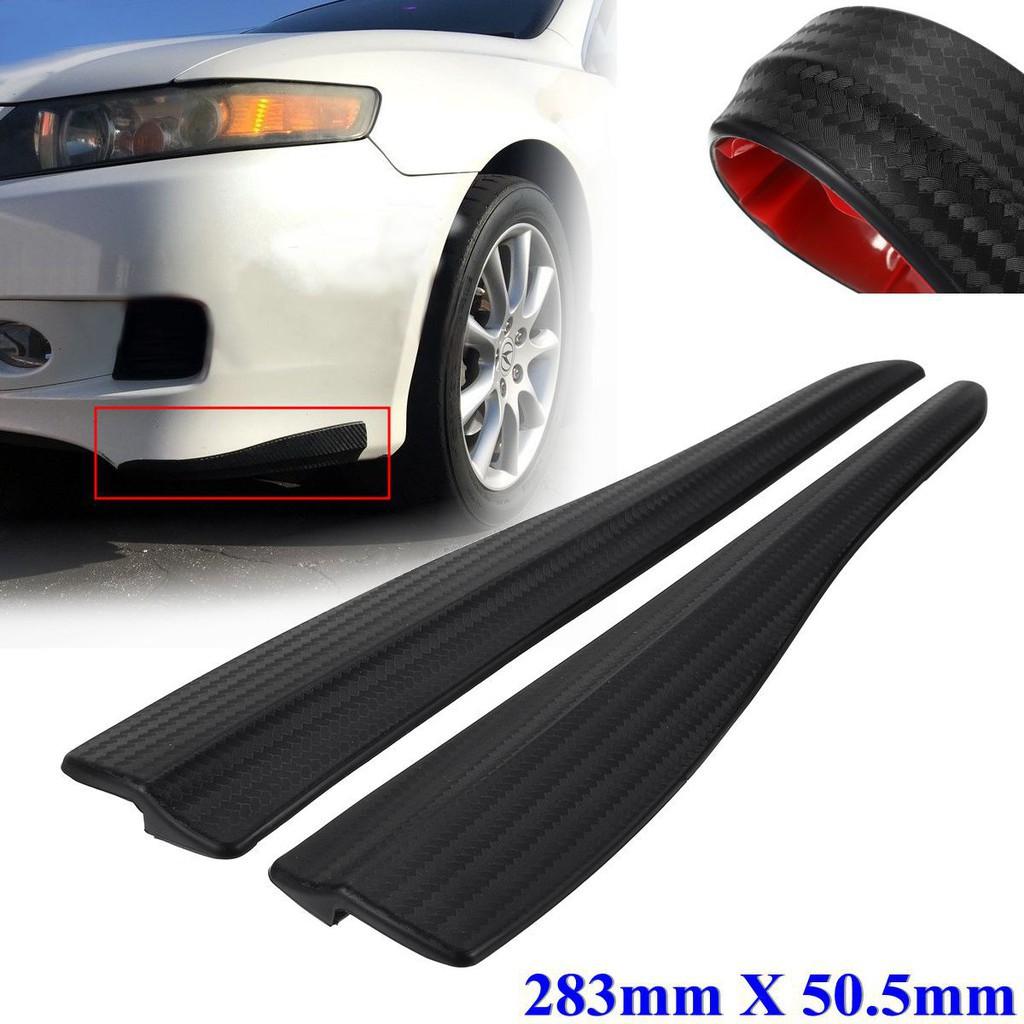 2X Carbon Fiber Front Rear Bumper Corner Lip Side Strap Guard Scratch Protector