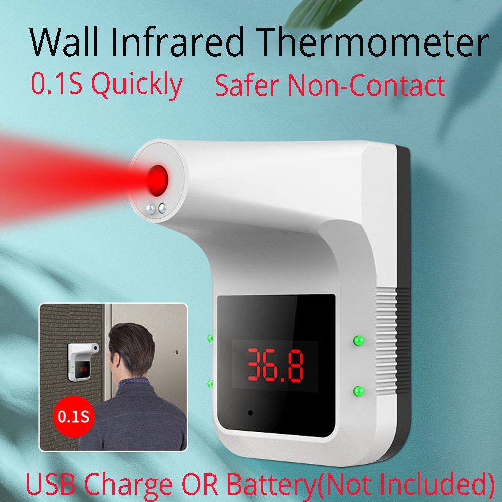 Wall Mounted / Stand Non-contact IR Infrared Wall Mounted Handsfree Forehead Body Hand Automatic Temperature Taking Infrared Thermometer Electronic Temperature Measuring Instrument Smart Sensor Contactless For Offices Shops & Malls