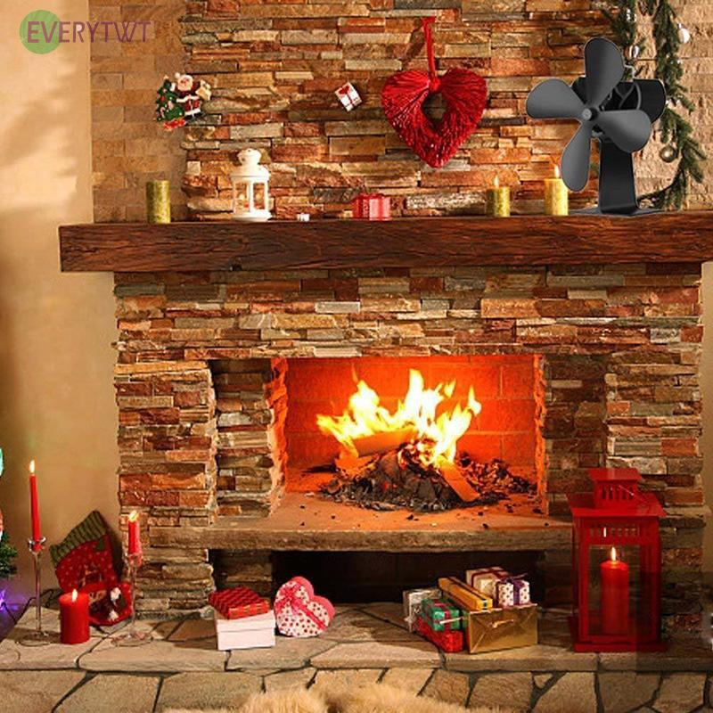 Quiet 4 Leaf Heat Powered Stove Fan For Small Space Log Wood