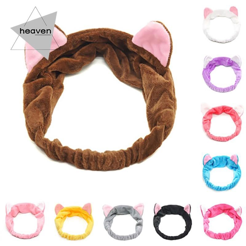 1* Womens Cat Ear Soft Hair Band Wrap Headband Bath Wash Spa Make Up Tools
