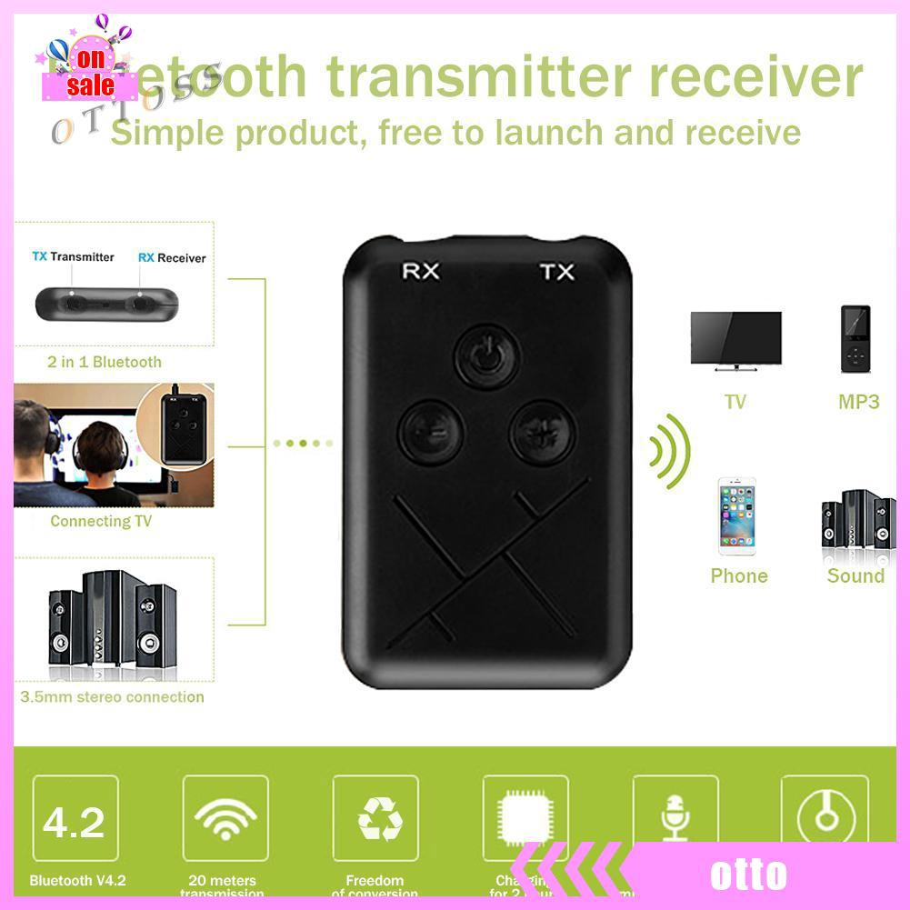 Bluetooth V4 Transmitter Receiver Wireless A2DP 3.5mm Stereo Audio Mic Adapter