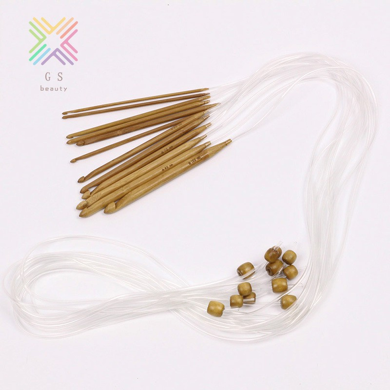 10mm GS High Quality Set 36pcs Single Pointed Bamboo Knitting Needles Case 2mm