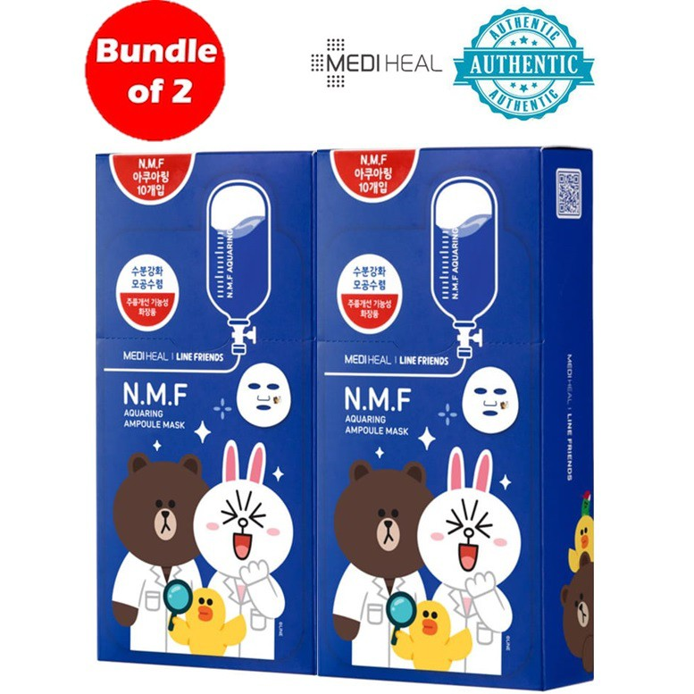[Clearance] Bundle of 2 boxes Mediheal X Line Friend N.M.F Aquaring Ampoule Mask | Shopee Singapore