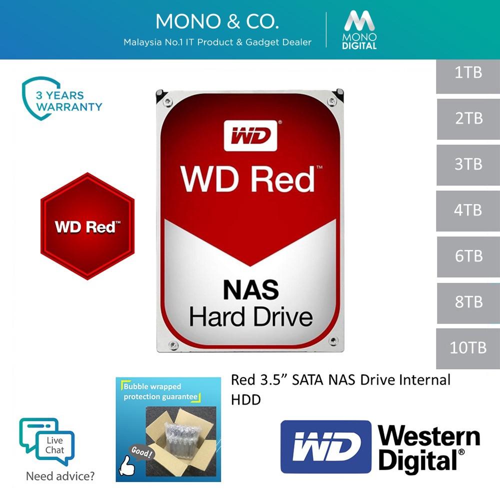 Western Digital Wd Red Nas 10tb 8tb 6tb 4tb 3tb 2tb 1tb Network Attached Storage 64mb 256mb Sata Internal Hdd Hard Disk Shopee Singapore