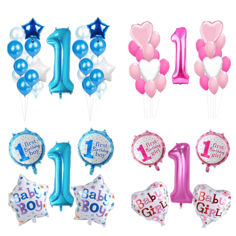 Pink Girl/'s Blue Boy/'s 1st Birthday Party Self Inflating Balloon Banner Bunting