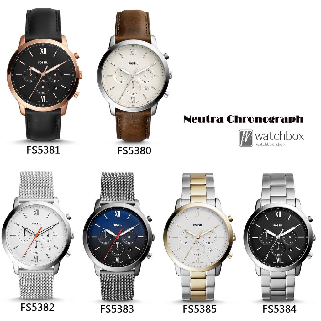 Original Fossil Watch Neutra Chronograph Black Leather 44mm Jr1510 Fs5381 Shopee Singapore