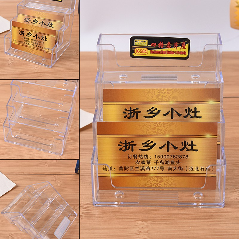 prior 4 Pocket Desktop Clear Acrylic Business Card Holder Countertop  Display Stand award