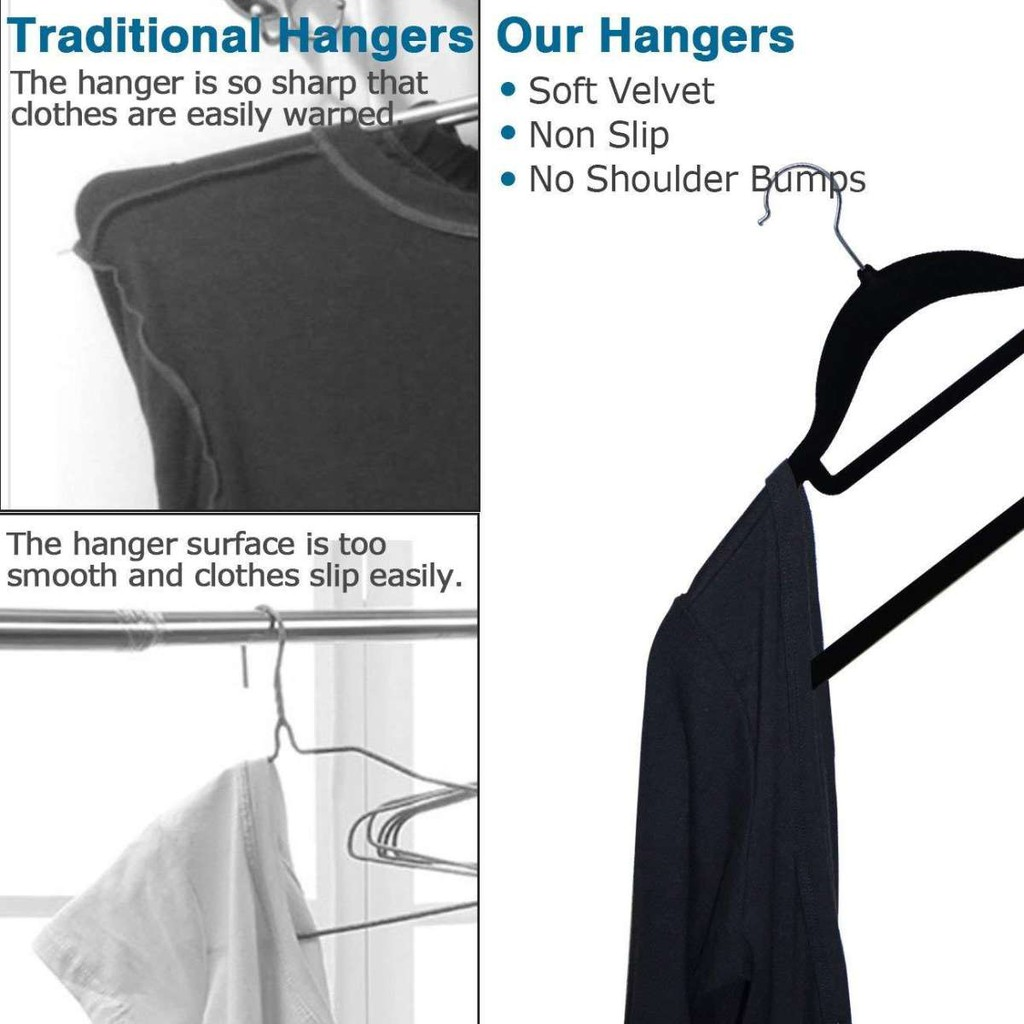 Slip 50pcs Velvet Grey Dark Hangers Clothes Hanger Non rodBxeC