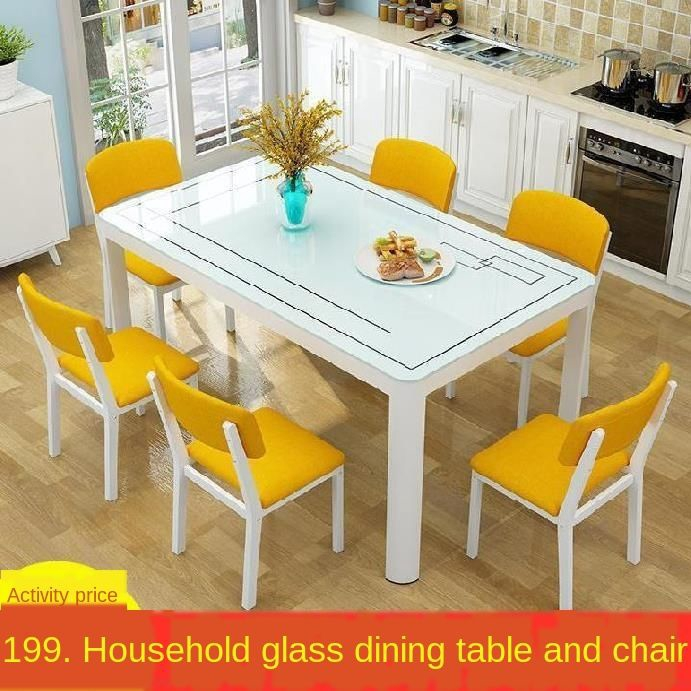 Dining Table And Chairs Combination Rectangle 4 6 Person Chair Home Simple Modern Small Family Dining Tables Glass Table Shopee Singapore
