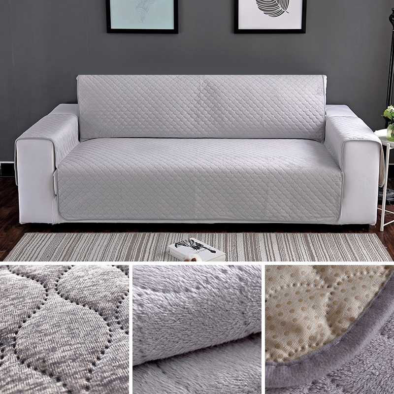 Amazing Plush Fabric Thick Sofa Cover With Pocket Removable Towel Armrest Couch Covers Inzonedesignstudio Interior Chair Design Inzonedesignstudiocom