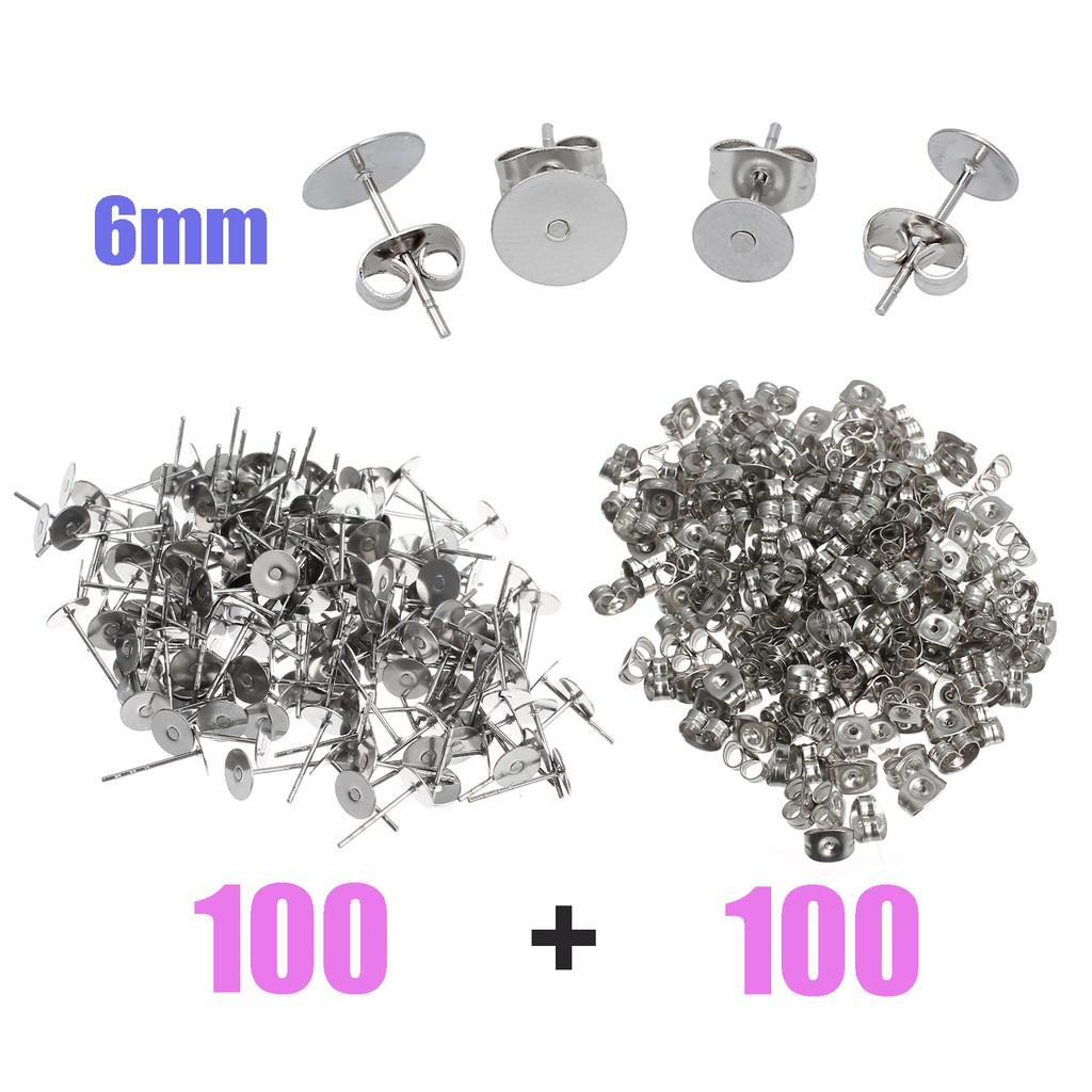 c4b2b6cff 200PCS 6mm Stainless Steel Earring Stud Posts 6mm Nut Backs Silvery DIY  Craft | Shopee Singapore
