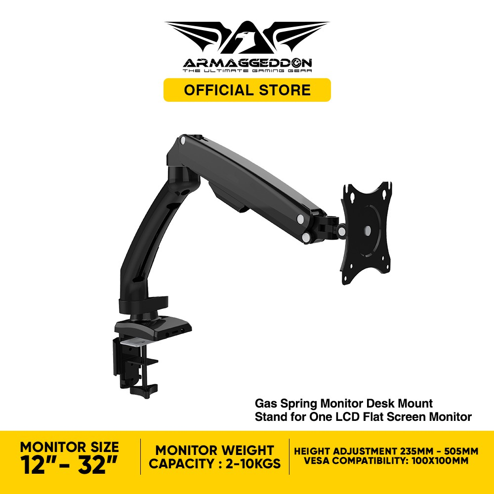 Armaggeddon Mechanic M1 Articulating Gas Spring Monitor Arm For LCD Monitor  [Adjustable Desk Mount 360 Rotation &Height] | Shopee Singapore