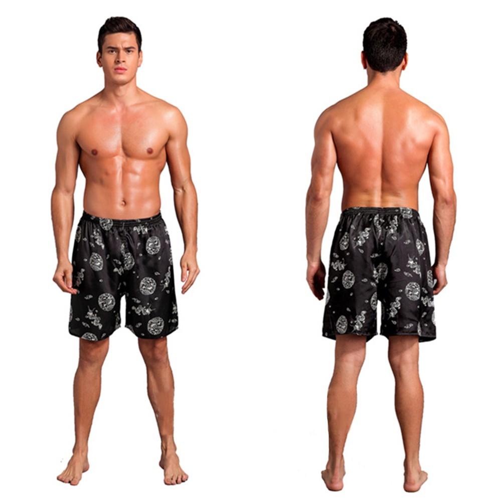 Men Loose Underwear Silk Satin Pajama Sleepwear Homewear Robes Shorts Loungewear