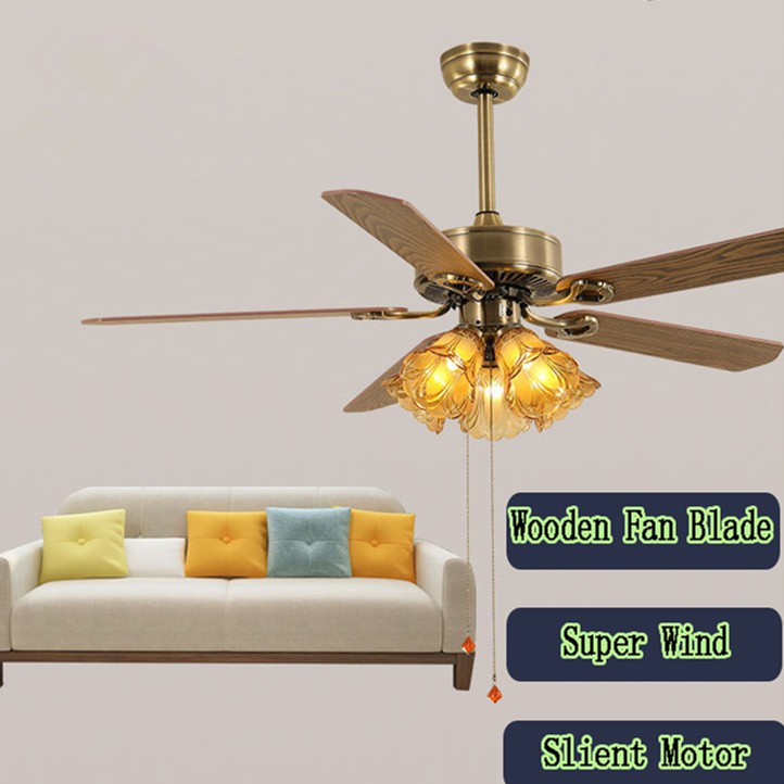 Solid Wooden Blade 52 Inch Ceiling Fans