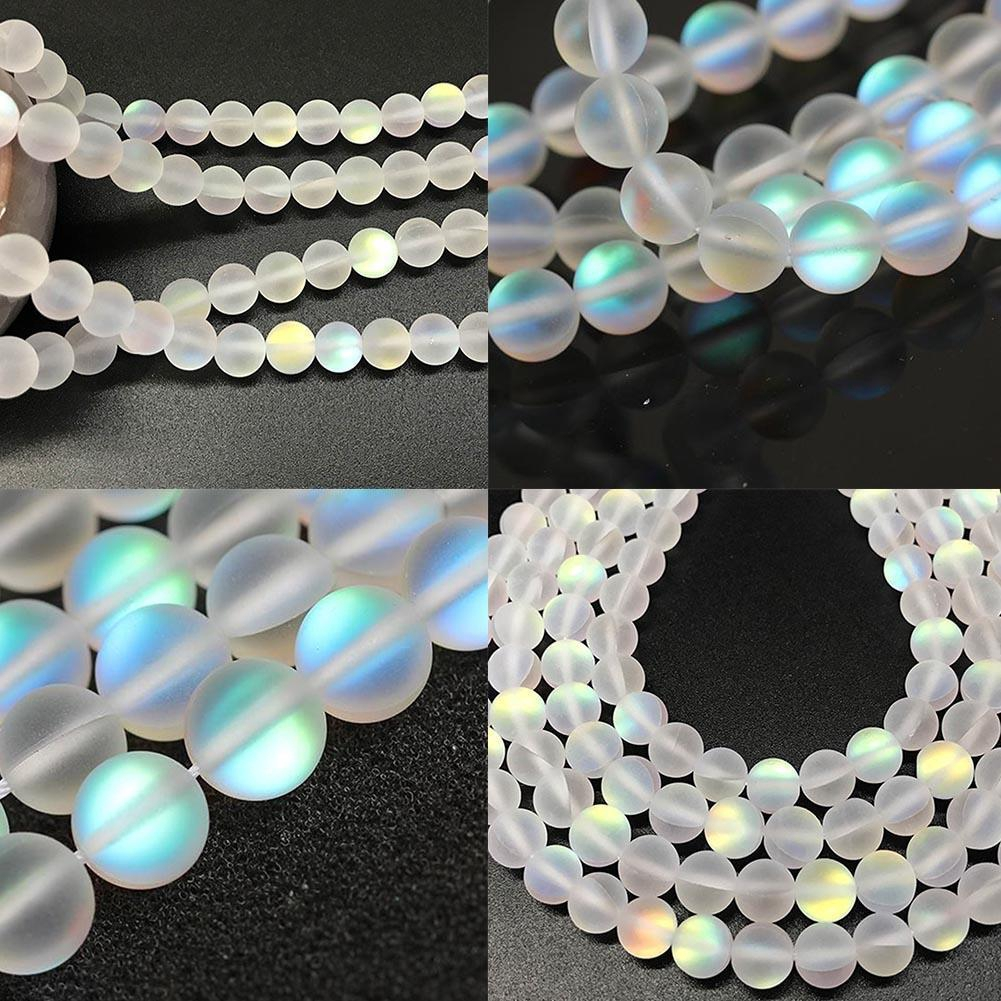 Mystic Aura Quartz Gemstone Loose Beads Holographic Matte DIY Bracelets Necklace