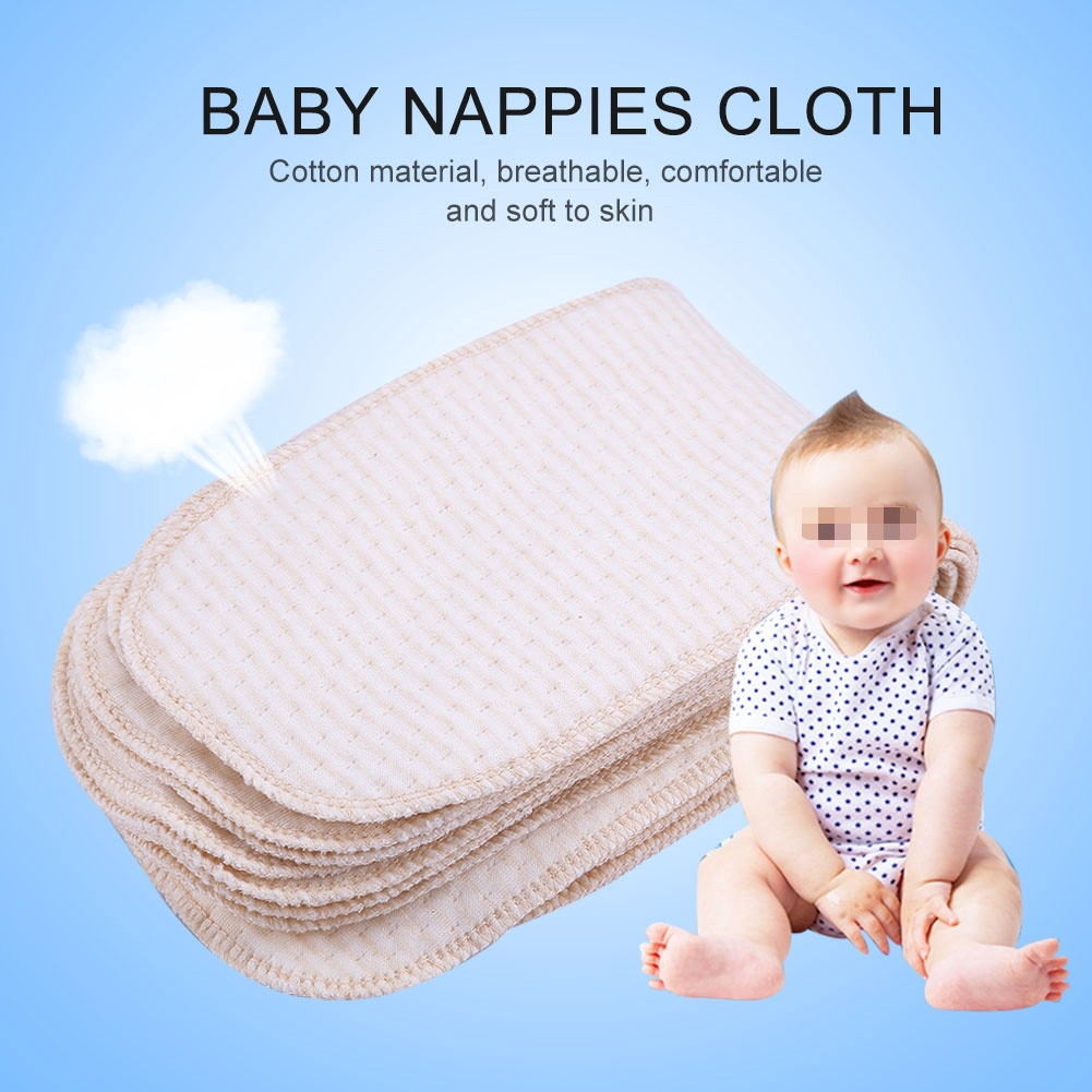 5 Pcs Soft Cotton Gauze Reusable Diapers Multifunction Water Absorption Towel Bibs Breathable Napkin for Newborn Children Infant Yellow Baby Nappy Diaper