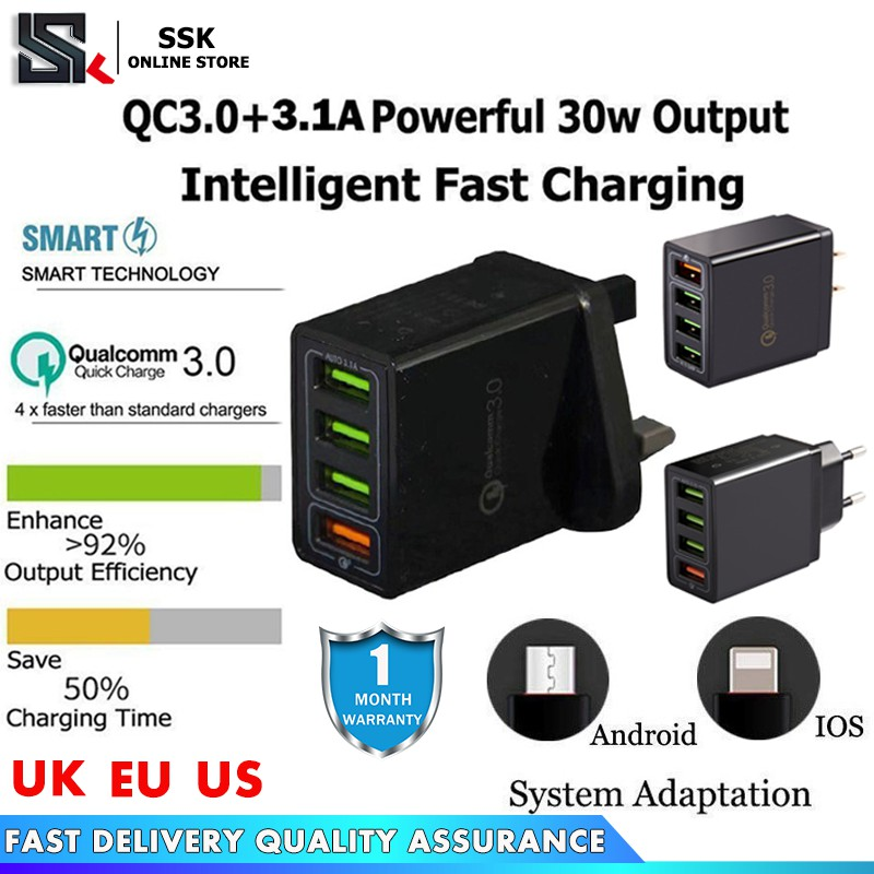 Qualcomm Quick Charge QC 3 0 30W 4-Port USB Wall Fast Charger Adapter For  IPhone Samsung HUAWEI XIAOMI Android
