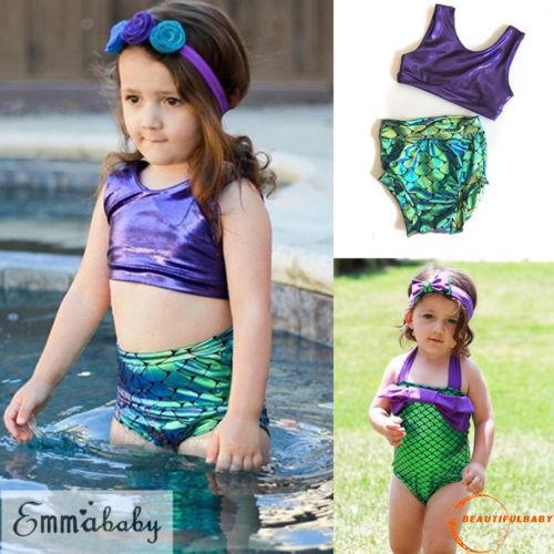 5deb9e48d4 TLU-Kids Baby Girls Colorful Bikini Swimwear Swimsuit Bathing Beach Costume  | Shopee Singapore