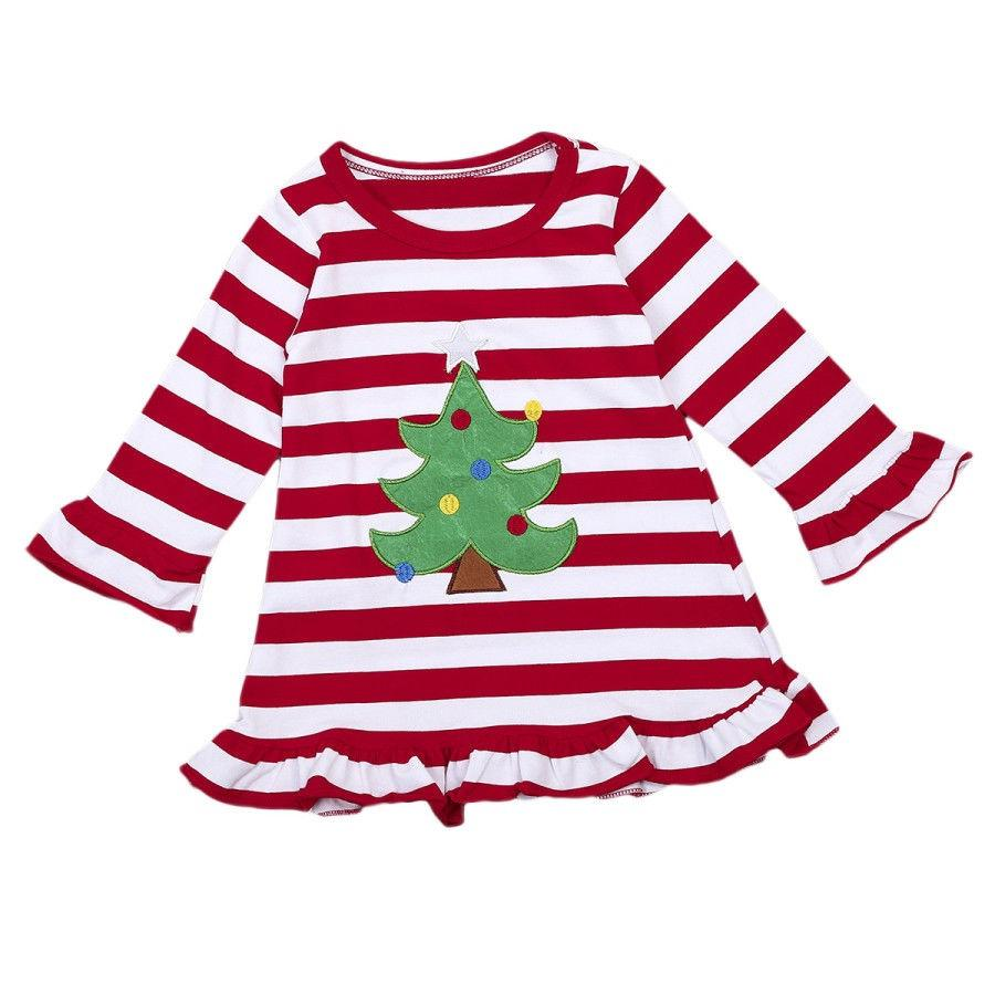 Toddler Christmas Dress.Png Christmas Toddler Kids Baby Girls Striped Long Sleeve Dress Clothes Outfits