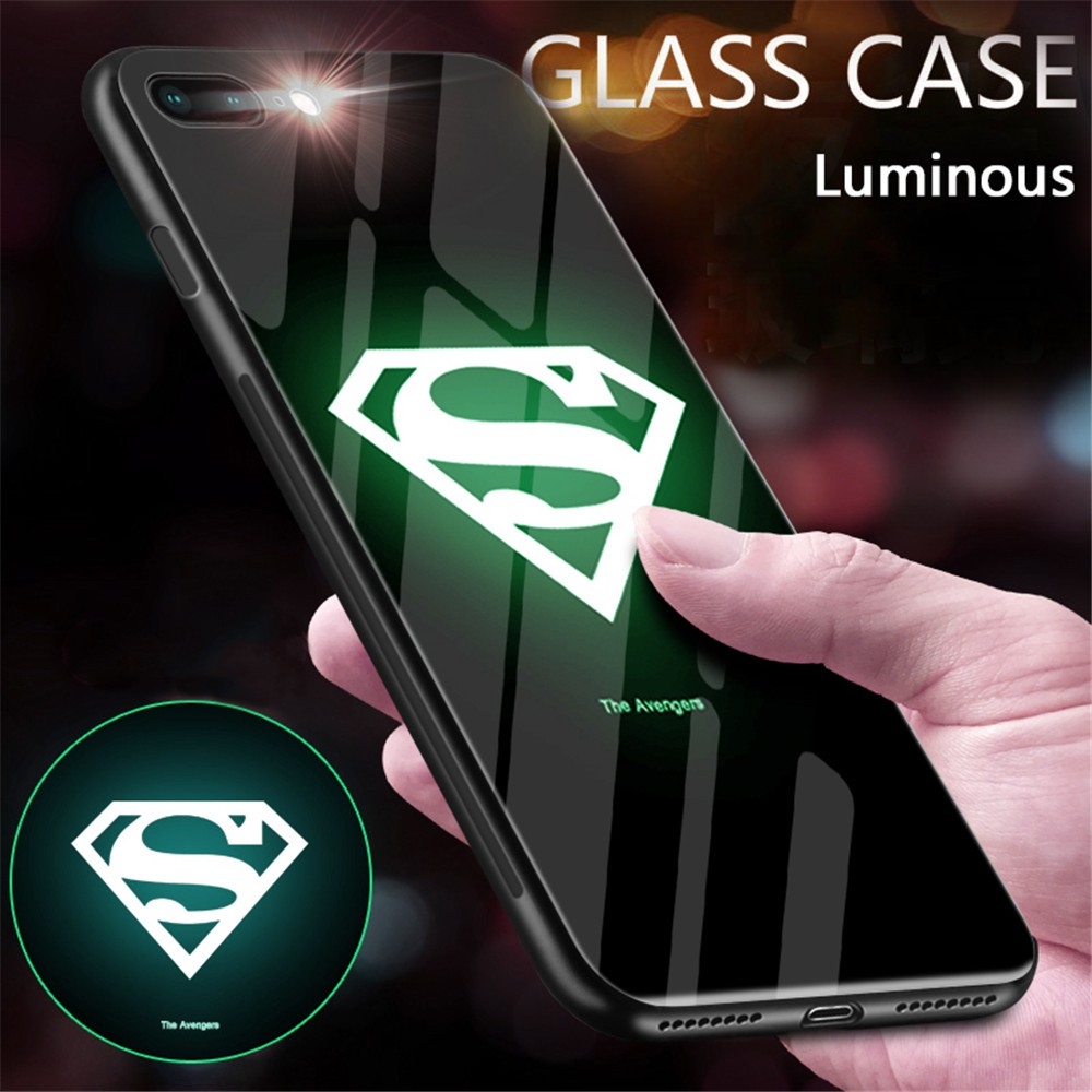 Samsung Galaxy s8 s9 s10 Plus Note 8 Note 9 Cover Marvel Black Panther  Venom Pattern Luminous Glass Phone Case