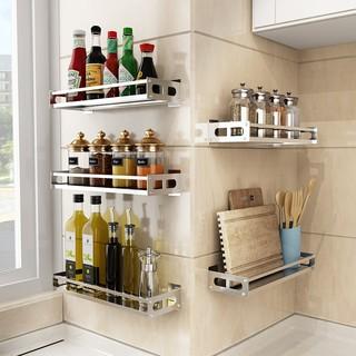 Free Punching 304 Stainless Steel Kitchen Rack Wall Mounted Seasoning Storage Rack Corner Space Saving