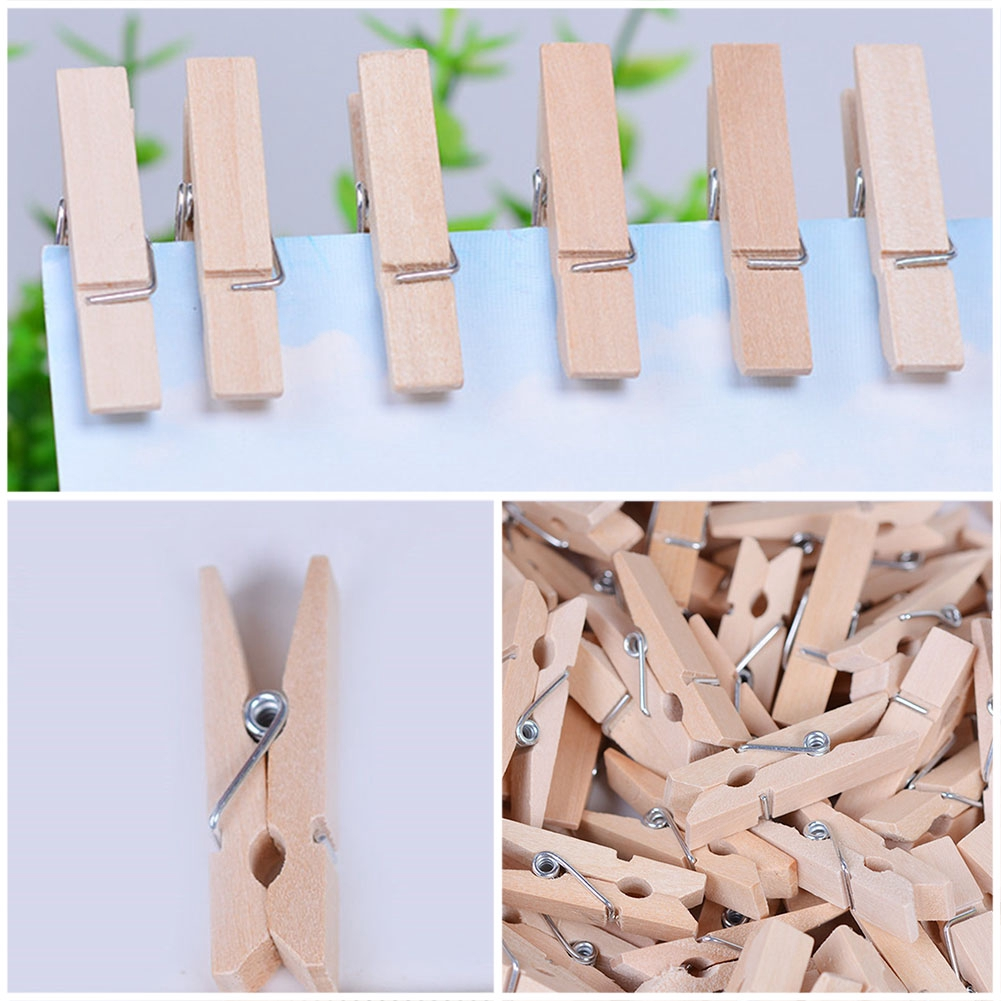 100//50x Mini Pegs 3.5cm Natural Colour Beige Small Wooden Wood Peg Clip Clamp