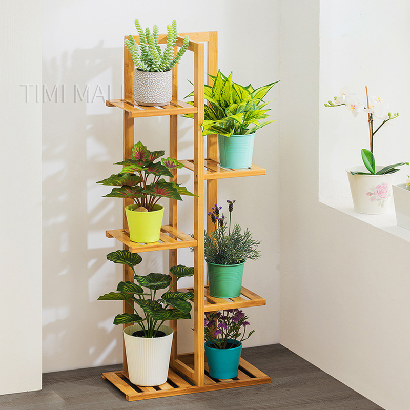5 Tier 6 Potted Bamboo Plant Stand, Patio Plant Stands Tiered